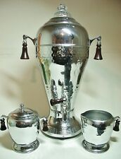 ART DECO HAMMERED CHROME LA BELLE SILVER CO. 1940'S COFFEE URN plus CREAMER & SU