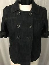 Ann Taylor Loft Double Breasted Women's Short Sleeve Denim Jacket Size SP Nice