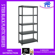 HEAVY DUTY 5 TIER BLACK PLASTIC RACKING SHELVING SHELVES RACK STORAGE SHELF UNIT