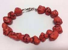 New Blood Red Black Veined Lava Rock Chunks Bracelet Goth Emo Womens Jewellery