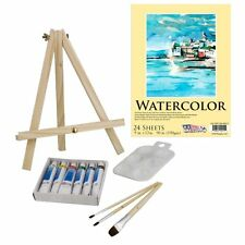 US Art Supply 13-Piece Watercolor Painting Set with Mini Table Easel