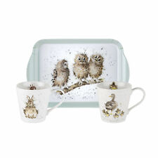 Pimpernel Wrendale 0.18L Porcelain Mugs & Melamine Tray Set Owl Duck Rabbit Gift