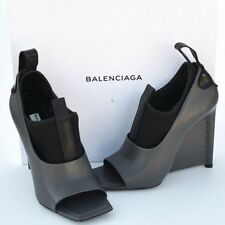 BALENCIAGA New sz 37.5 7.5 Auth Designer Womens Heels Shoes open toe gray black