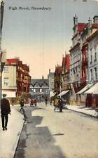 Shrewsbury High Street, Bicycle, Bike, Cart, Auto Car 1920s