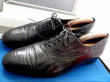 DA VINCCI EXCLUSIVE CLASSIC/VTG BLACK GENUINE LIZARD LEATHER SHOES UK 10 EU 44