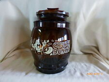 VINTAGE SIESTA WARE WOOD LID CRUNCH BUNCH COOKIE PRETZEL PICKLE SNACK JAR AMBER
