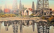 Reflections in Lake of Oil, Derricks, Sheds Hand Tinted Postcard, California?