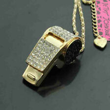 D605B   Betsey Johnson Crystal AB  Whistle Pendant Sweater Necklace