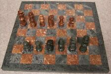 "Chess Set with Marble 16"" Board & Tan Brown and Green Pieces 3 3/8"" kings NEW"