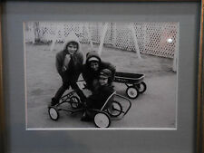 Vintage B&W Photograph Framed Children Radio Flyer Wagon Pedal Car 1950's 5x7