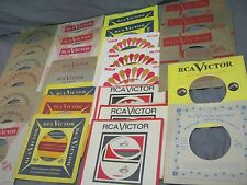 28 EARLY RCA VICTOR LABEL COMPANY SLEEVES FOR 45 RPM RECORDS - 50s & 60s designs