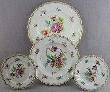 4PCS AS A LOT ANTIQUE RICHARD KLEMM DRESDEN FLOWERS FINE CHINA ALL WITH DAMAGE