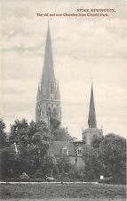 POSTCARD   LONDON  STOKE  NEWINGTON  The Old and New Churches from  Clissold Pk
