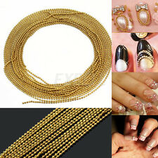 3m Catena Perline Bead in Lega Tono Oro Nail Art Unghie Tips Decorazione