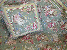 2 piece Olive Country Floral Quilted Throw Rug & Cushion Cover Value Set