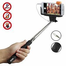 Selfie Stick Telescopic Phone Camera Holder Cable Shutter For iPhone 6 5 Samsung