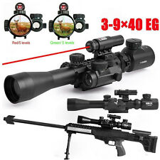 Set Illuminated 3-9X40EG Tactical Rifle Scope&Red Laser&Holographic Dot Sight
