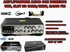 AMPLIFICATORE AUDIO HIFI USB 12V 220V SD MP3 FM TELECOMANDO DISPLAY INGRESSI MIC