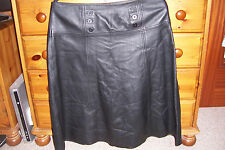 MARKS & SPENCER AUTOGRAPH BLACK LEATHER SKIRT SIZE 14 UK 35 WAIST LINED