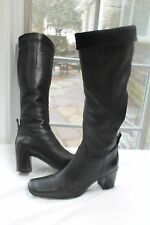 DONALD J PLINER SIZE 7 1/2 M BLACK LEATHER KNEE HIGH HEEL BOOTS