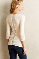 NWT Anthropologie Ribbed Scoopneck Top Tee SMALL Cream Light Beige By Eloise
