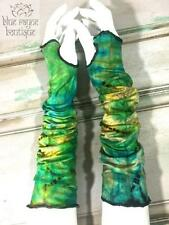 Fair Trade Green Mudmee Tie Dye Elbow Length Fingerless Gloves Arm Warmer