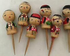 13 Vintage Asian Children Cupcake Picks, Hand Painted, Candle Hole, Wood