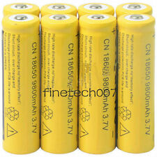 8pcs 18650 3.7V 9800mAh Yellow Li-ion Rechargeable Battery Cell For Torch FV