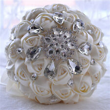 Artificial Rose Flower Wedding Bouquet Brooch Crystal Pearls Silk Bridal Flowers