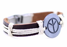 Retro Tibetan style silver peace sign ethnic leather charm bracelet