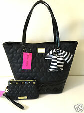 Betsey Johnson Key Item Tote Be Mine & Wristlet Quilted Heart Bag Black Set NWT