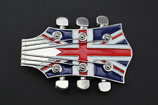 UNION FLAG GUITARS GEAD ROCK BELT BUCKLE METAL MUSIC UNITED KINGDOM
