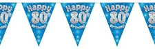 Blue Holographic Happy 80th Birthday Flag Bunting Decoration 12.8ft Long - New