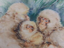 DECORATIVE VINTAGE JAPANESE CHINESE WATERCOLOR PRINT OF SNOW MONKEYS