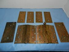 Beautiful Vintage Brass Ornate Door Hinges And Door Backplates Pat. June 1869