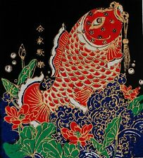 Red Fish Silk Screen Vintage Art Picture Thai Handmade Wall Decor Make Money #2