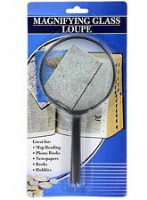 Large Handheld Magnifying Glass Loupe 4 Inch Diameter 5X Strength Glass Lens Jot