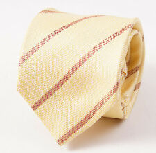New $225 ISAIA NAPOLI Multi-Fold Light Yellow Woven Stripe Silk Tie Necktie