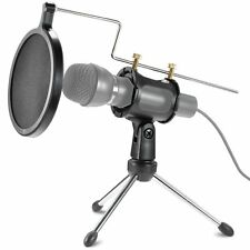 Robustrion Foldable Microphone Tripod Stand, Shock Mount Mic Holder & Pop Filter