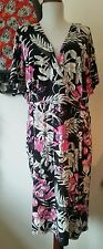F&F TRUE BNWT MOCK WRAP STRETCH MOD  jersey elegant TIKI TROPICAL V NECK DRESS