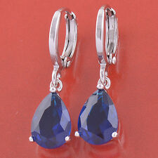 White Gold Filled Teardrop Drop Sapphire Gemstone Womens Clip On Dangle Earrings