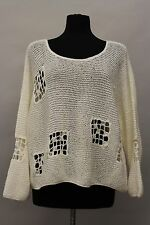 PRISA COLLECTION EUROPEAN FASHION DEFECTS KNITWEAR CROCHET SWEATER PULLOVER WHTE