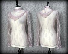 Dusky Rose Pale Mauve Lace High Neck Top 12 14 Shabby Victorian Gothic Romance