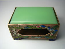 CHINESE CHAMPLEVE ENAMEL COPPER MATCHBOX HOLDER BOX CLOISONNE JADE China ca1900s
