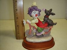 Clown Riding Bicycle, dog on back Figurine, hand painted on Wood base