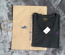 Polo Ralph Lauren Women's Dark Grey V-neck Logo T-shirt Size S New With Tag