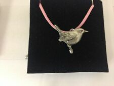 Wren PP-B20 Pewter Pendant on a PINK CORD Necklace