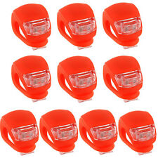 10x Silicone LED Cycling Light Bicycle Head Front Tail Rear Strobe Red