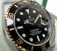 Rolex SUBMARINER 116613 Mens Steel & Gold Oyster Ceramic Bezel Black Dial 40MM