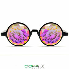 GloFX Black Kaleidoscope Glasses – Rainbow Fractal – Flat Back Rave Prism Lights
